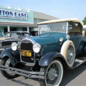 Model A 1928 4 cyl, restored in 80, needs new paint.